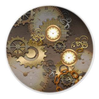 Steampunk, relojes y engranajes en metal de oro pomo de cerámica