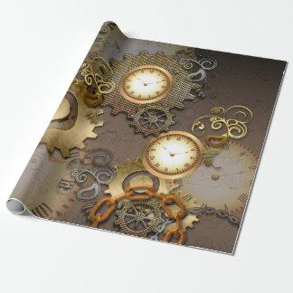 Steampunk, relojes y engranajes i papel de regalo