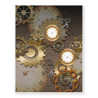 Steampunk, relojes y engranajes i tatuajes temporales