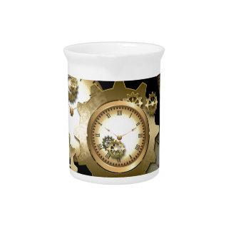 Steampunk, relojes y engranajes jarra de beber
