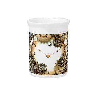 Steampunk, relojes y engranajes jarra para bebida