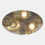 Steampunk, relojes y engranajes pegatina ovalada