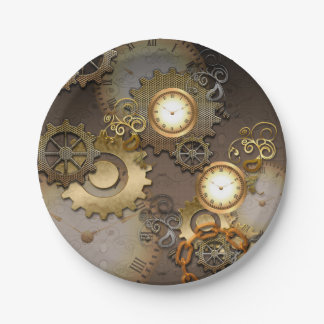 Steampunk, relojes y engranajes plato de papel de 7 pulgadas