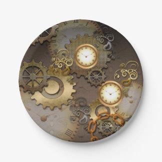 Steampunk, relojes y engranajes platos de papel