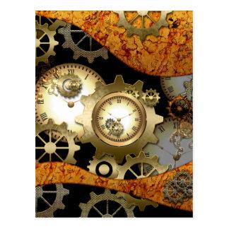 Steampunk, relojes y engranajes tarjeta postal