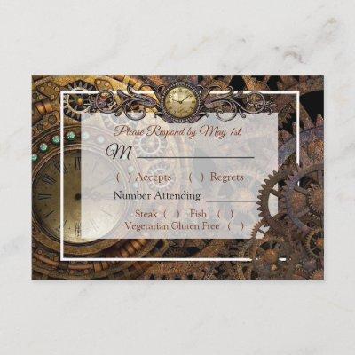 Steampunk Renaissance Wedding RSVP card