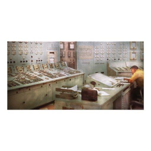 Steampunk - retro - la central eléctrica tarjetas con fotos personalizadas