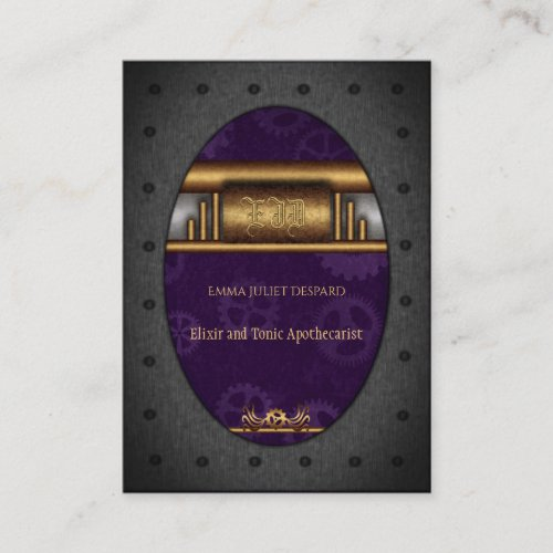 Steampunk riveted frame, brass and royal purple business card