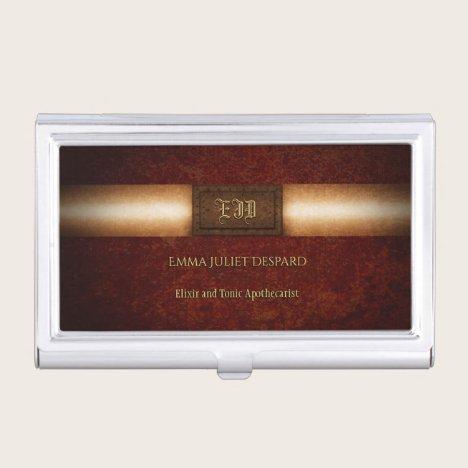 Steampunk rivetted grunge brass monogram plate business card case