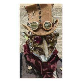 Steampunk Robot Collage Over Old Dicionary Page Business Card