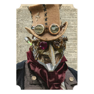 Steampunk Robot Collage Over Old Dicionary Page Card