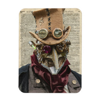 Steampunk Robot Collage Over Old Dicionary Page Rectangular Photo Magnet