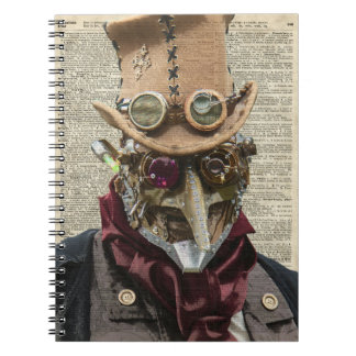 Steampunk Robot Collage Over Old Dicionary Page Spiral Notebook