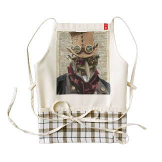 Steampunk Robot Collage Over Old Dicionary Page Zazzle HEART Apron