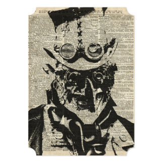 Steampunk Robot Stencil Over Old Dictionary Page Card