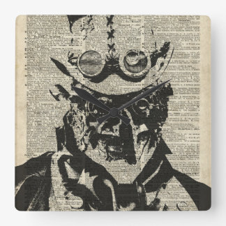 Steampunk Robot Stencil Over Old Dictionary Page Square Wallclock