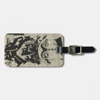 Steampunk Robot Stencil Over Old Dictionary Page Luggage Tags