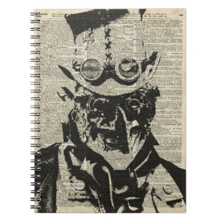 Steampunk Robot Stencil Over Old Dictionary Page Notebook