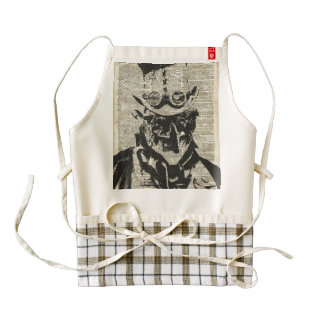 Steampunk Robot Stencil Over Old Dictionary Page Zazzle HEART Apron