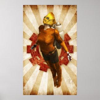Steampunk rocket girl poster
