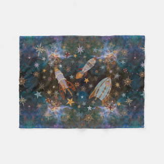 Steampunk Rockets in Emerald Nebula Fleece Blanket