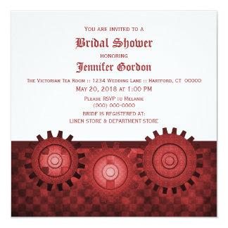 Steampunk rojo adapta la ducha nupcial invita invitación 13,3 cm x 13,3cm