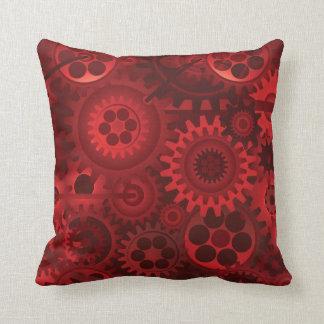 Steampunk rojo cojin