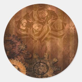 Steampunk Roses Goth Wedding set Classic Round Sticker