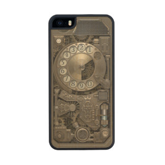 Steampunk Rotary Metal Dial Phone. Carved® Maple iPhone 5 Slim Case