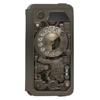 Steampunk Rotary Metal Dial Phone. iPhone 6/6s Wallet Case