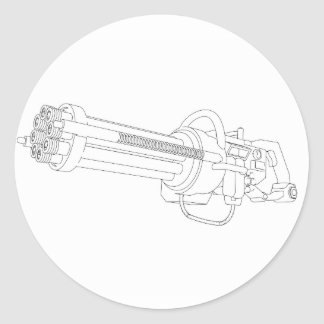 Steampunk Rotation Gun Classic Round Sticker