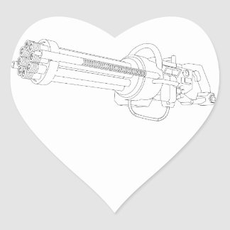 Steampunk Rotation Gun Heart Sticker