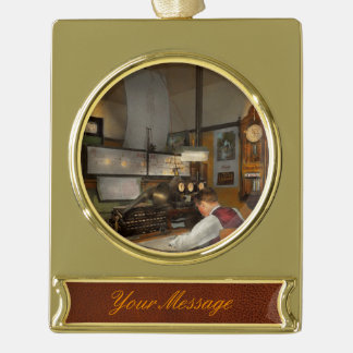 Steampunk - RR - The train dispatcher Gold Plated Banner Ornament