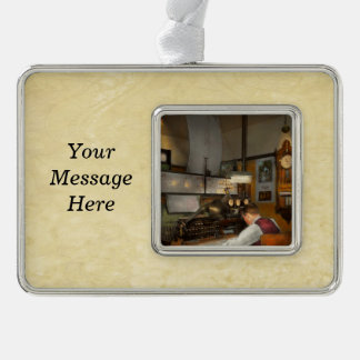 Steampunk - RR - The train dispatcher Silver Plated Framed Ornament