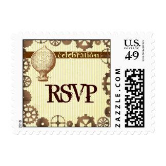 STEAMPUNK RSVP theme invitation stamps