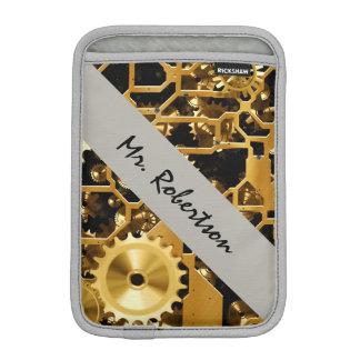 Steampunk Rust Gears Clock Mechanical Gold Office Sleeve For iPad Mini