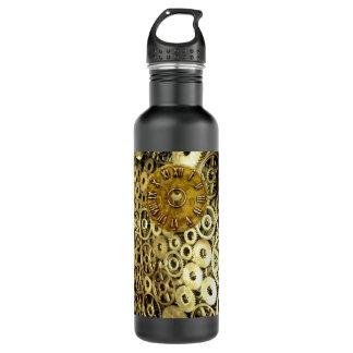 Steampunk rust machinery cogs brass clock water bottle