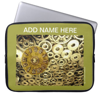 Steampunk rust machinery cogs mechanical laptop sleeves