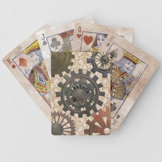 Steampunk Rusted Grunge Mechanical Cogs and Gears Deck Of Cards