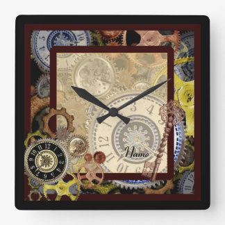 STEAMPUNK - rustic vintage Victorian style art Square Wall Clock