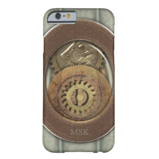 Steampunk Rusty Cogs Monogram Barely There iPhone 6 Case