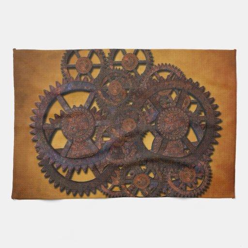 Steampunk Rusty Gears Towel
