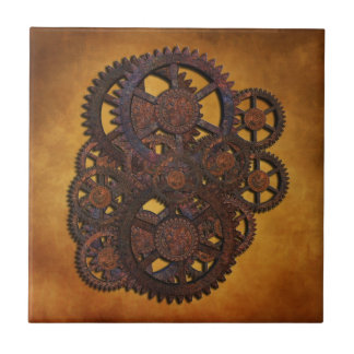 Steampunk Rusty Gears Ceramic Tile