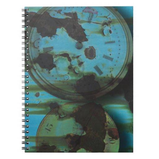 Steampunk Rusty Grungy Textured Clock Faces Spiral Notebook