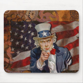 Steampunk Sam Patriotic US Flag Design Mouse Pad
