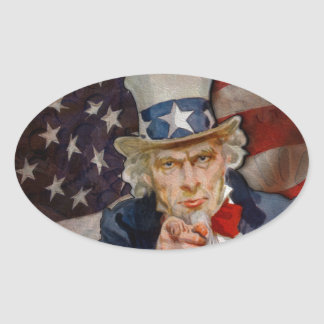 Steampunk Sam Patriotic US Flag Design Oval Sticker