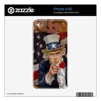 Steampunk Sam Patriotic US Flag Design Skins For iPhone 4S