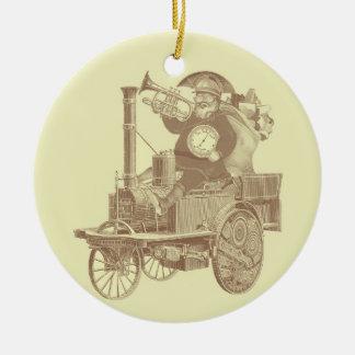 Steampunk Santa - Felices Navidad del vintage Adorno Navideño Redondo De Cerámica