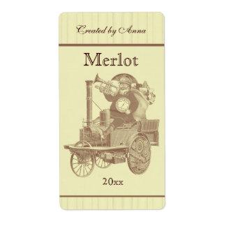 Steampunk Santa on steam engine Labels