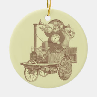Steampunk Santa - vintage merry christmas Ceramic Ornament